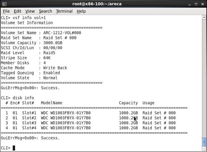 Areca Linux CLI